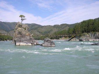 Река Катунь, старый мост